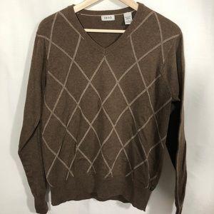 Md IZOD Brown Embroidered Diamond V Neck Sweater